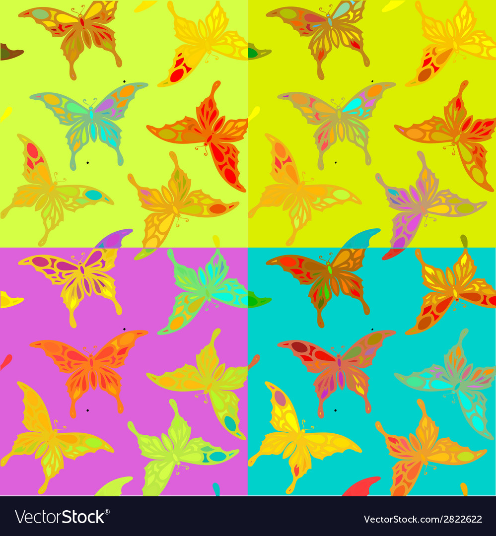 Seamless colorful butterfly pattern vector | Price: 1 Credit (USD $1)