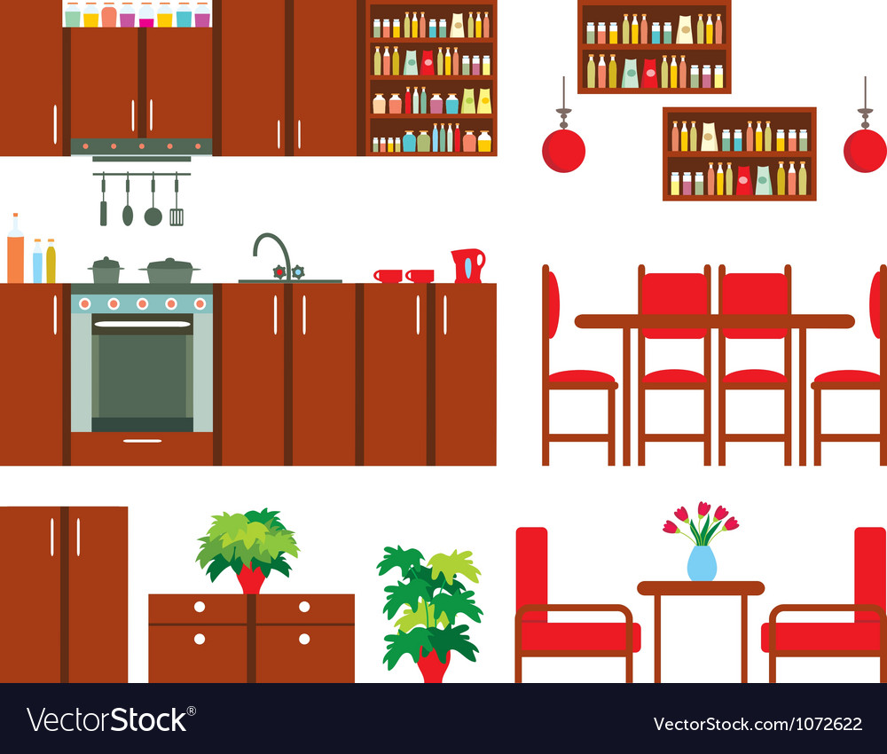Set of kitchen furniture vector | Price: 1 Credit (USD $1)