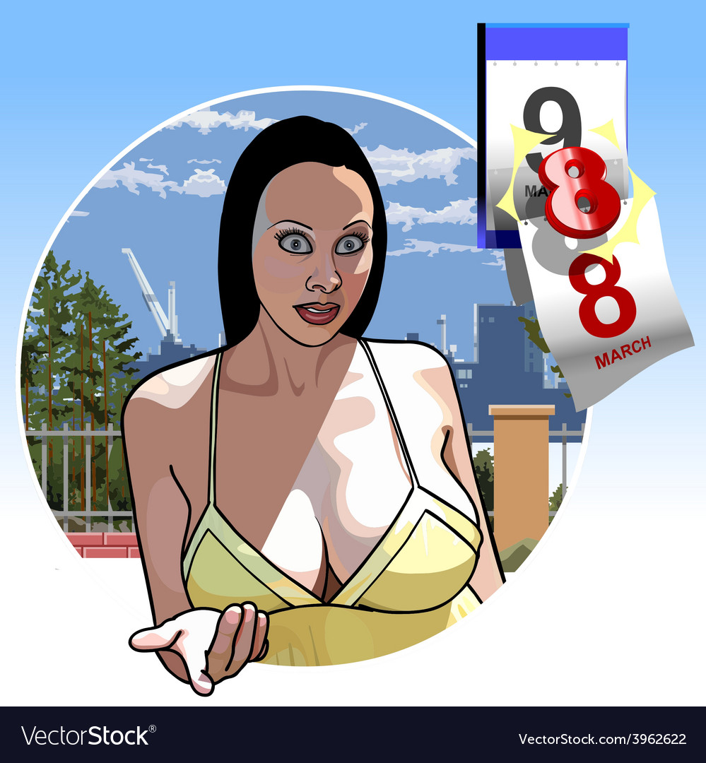 Sexy girl with big breasts eighth of march vector   Price: 3 Credit (USD $3)