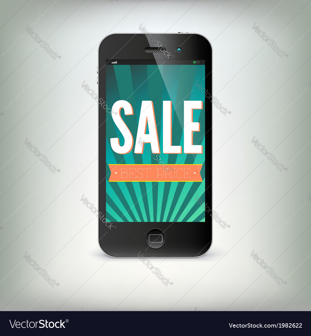 Smartphone with word sale on display vector | Price: 1 Credit (USD $1)