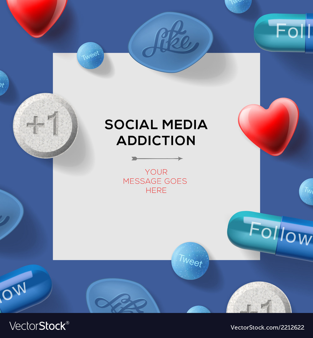 Social media addiction concept with pills vector   Price: 1 Credit (USD $1)