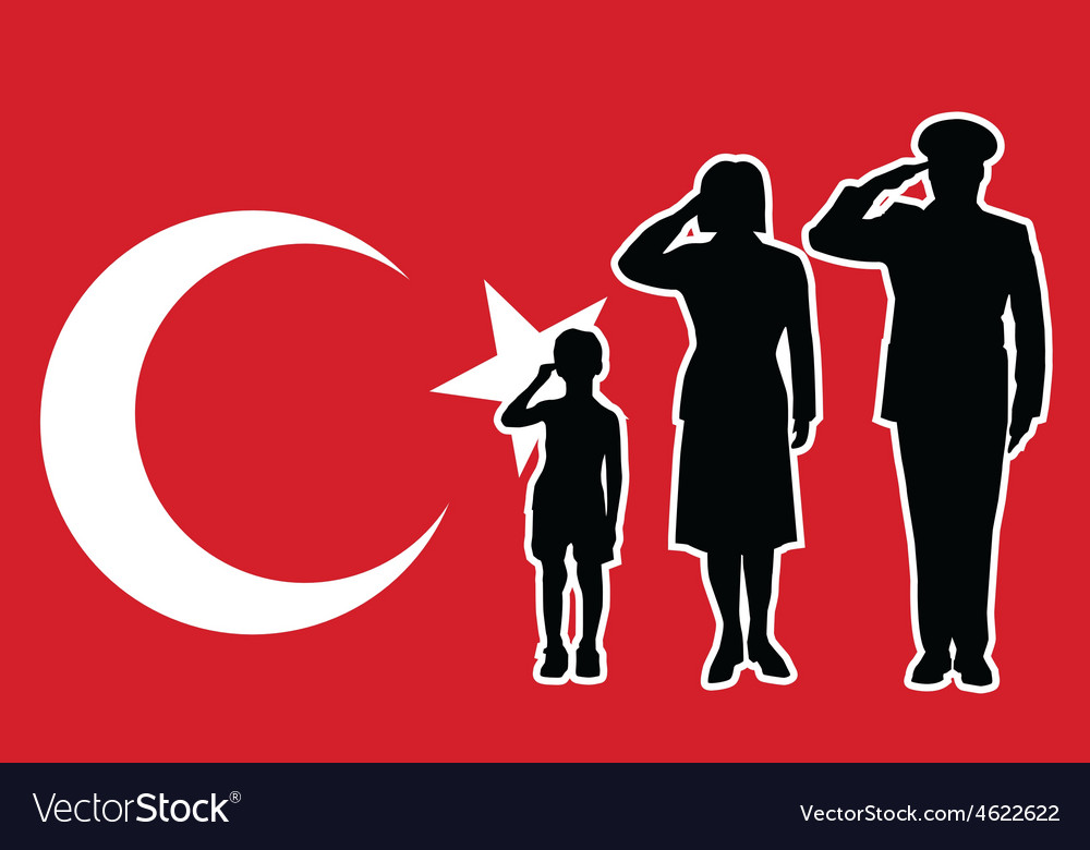 Turkey soldier family salute vector | Price: 1 Credit (USD $1)