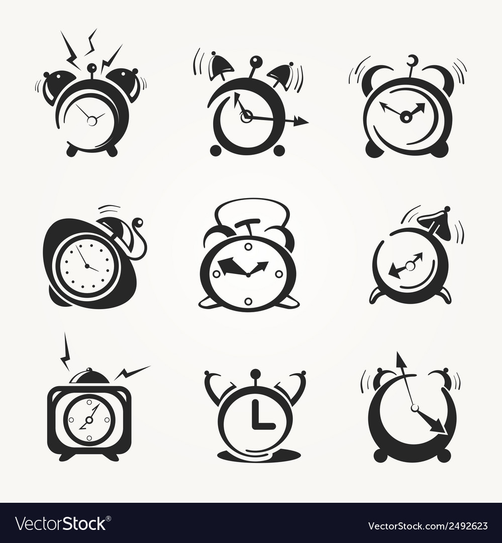 Alarm clock black icons vector | Price: 1 Credit (USD $1)