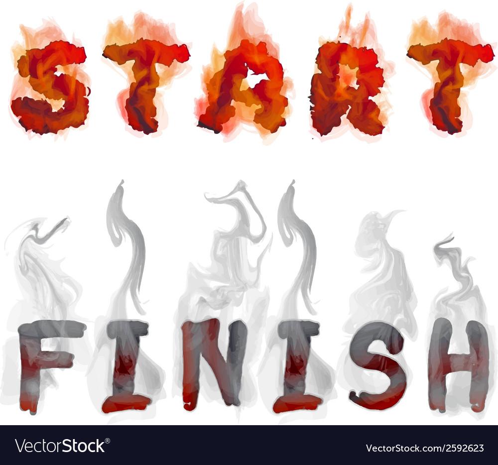 Burning inscription start and finish vector | Price: 1 Credit (USD $1)