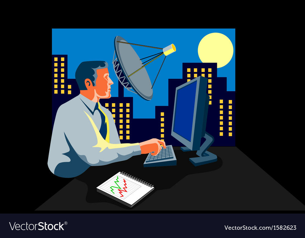 Businessman computer typing vector | Price: 1 Credit (USD $1)