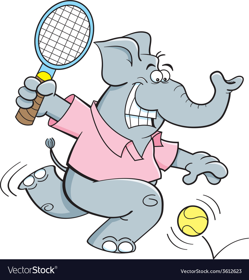 Cartoon elephant playing tennis vector | Price: 1 Credit (USD $1)