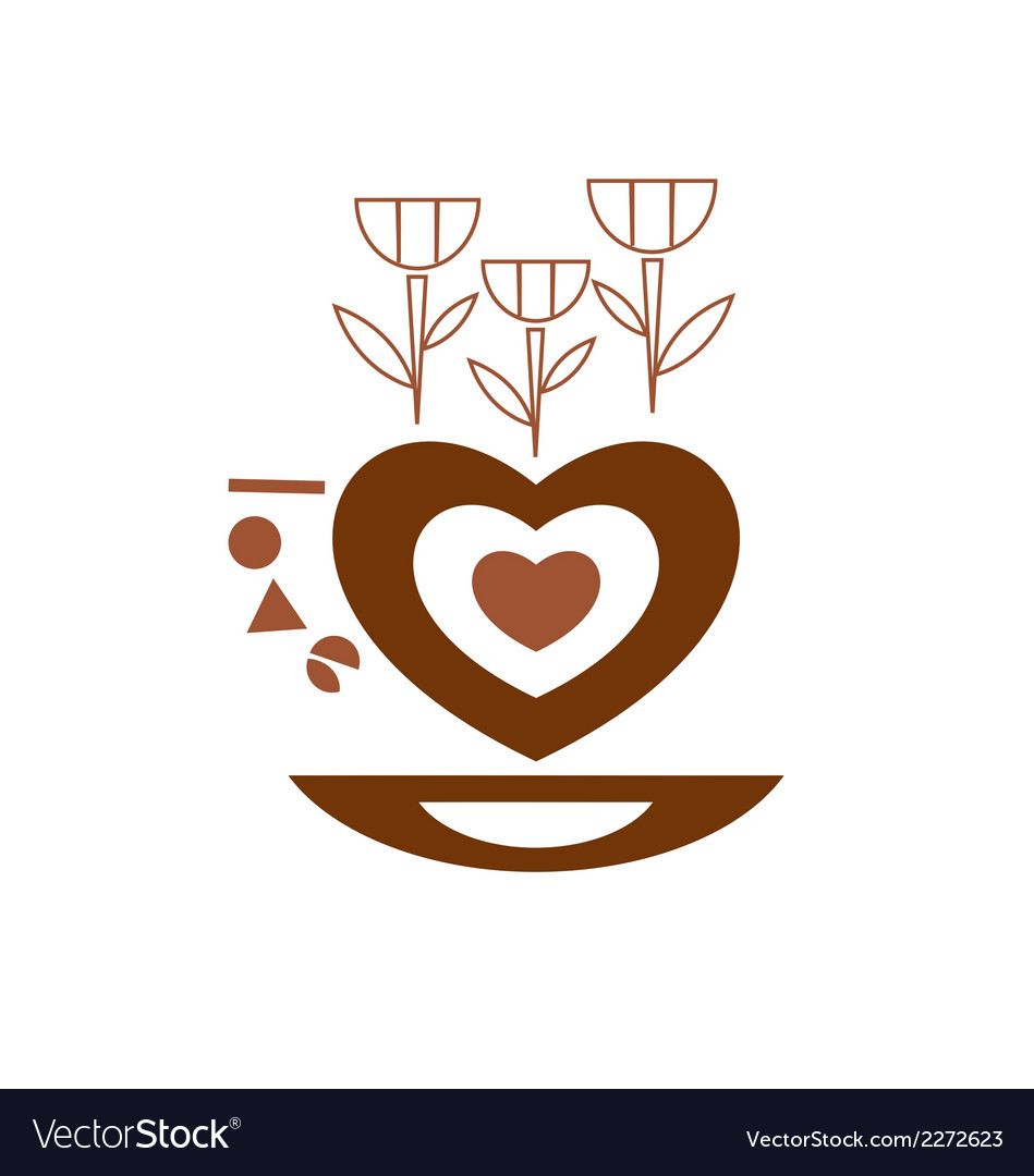 Cup of coffee looking like a heart vector | Price: 1 Credit (USD $1)