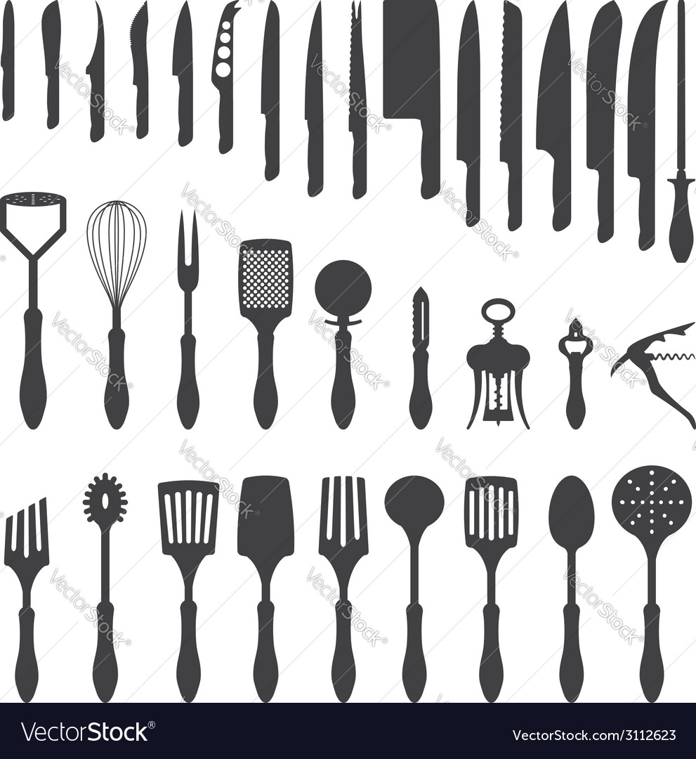 Dinner cutlery silhouette set vector