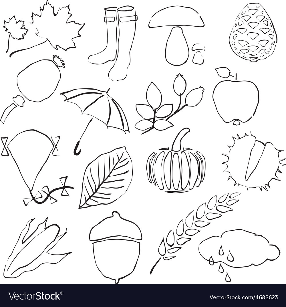 Doodle autumn images vector | Price: 1 Credit (USD $1)