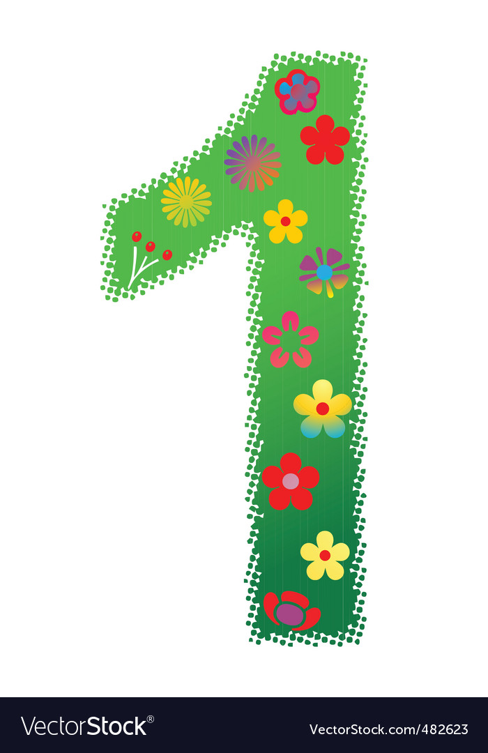 Floral number 1 vector | Price: 1 Credit (USD $1)