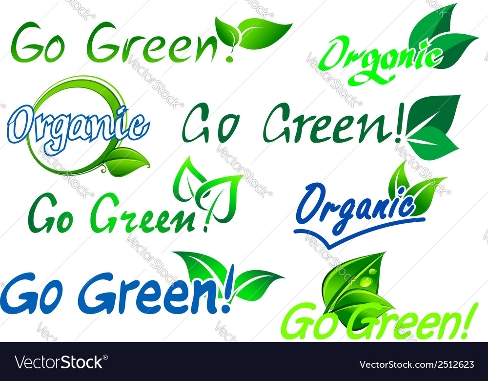 Go green organic labels vector | Price: 1 Credit (USD $1)