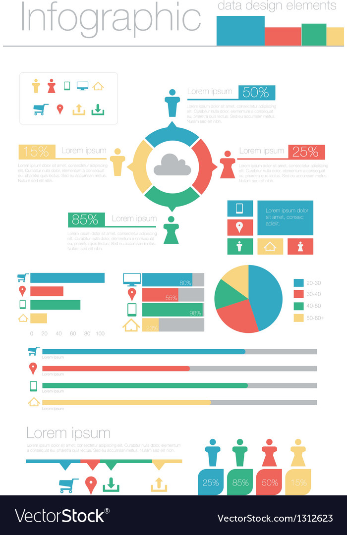 Info graphic data design elements vector | Price: 1 Credit (USD $1)
