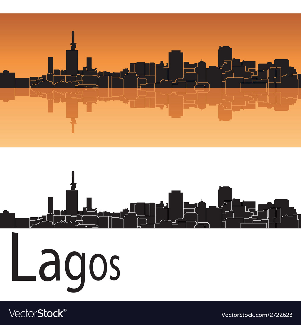 Lagos skyline in orange background vector | Price: 1 Credit (USD $1)