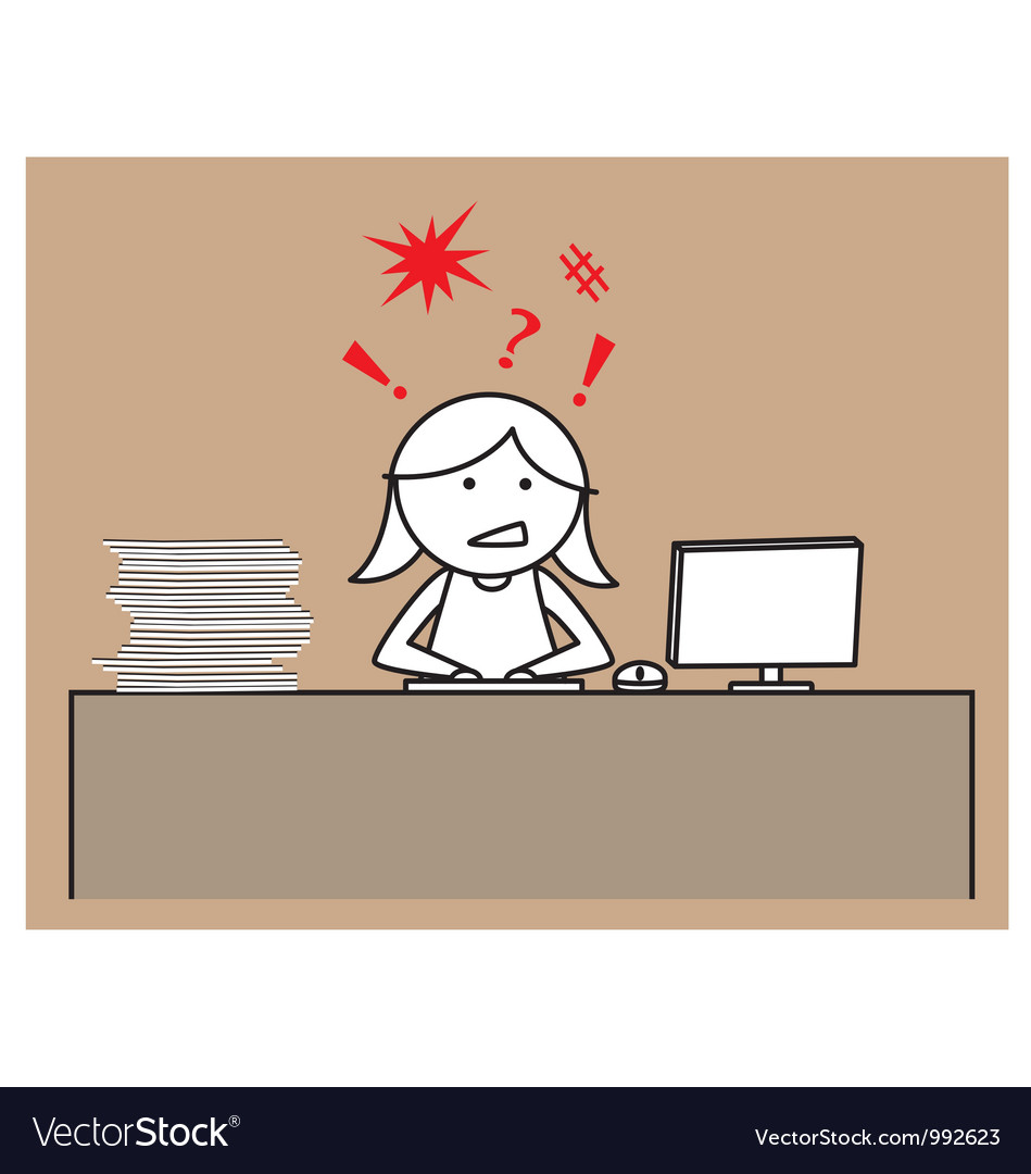 Office lady working vector | Price: 1 Credit (USD $1)