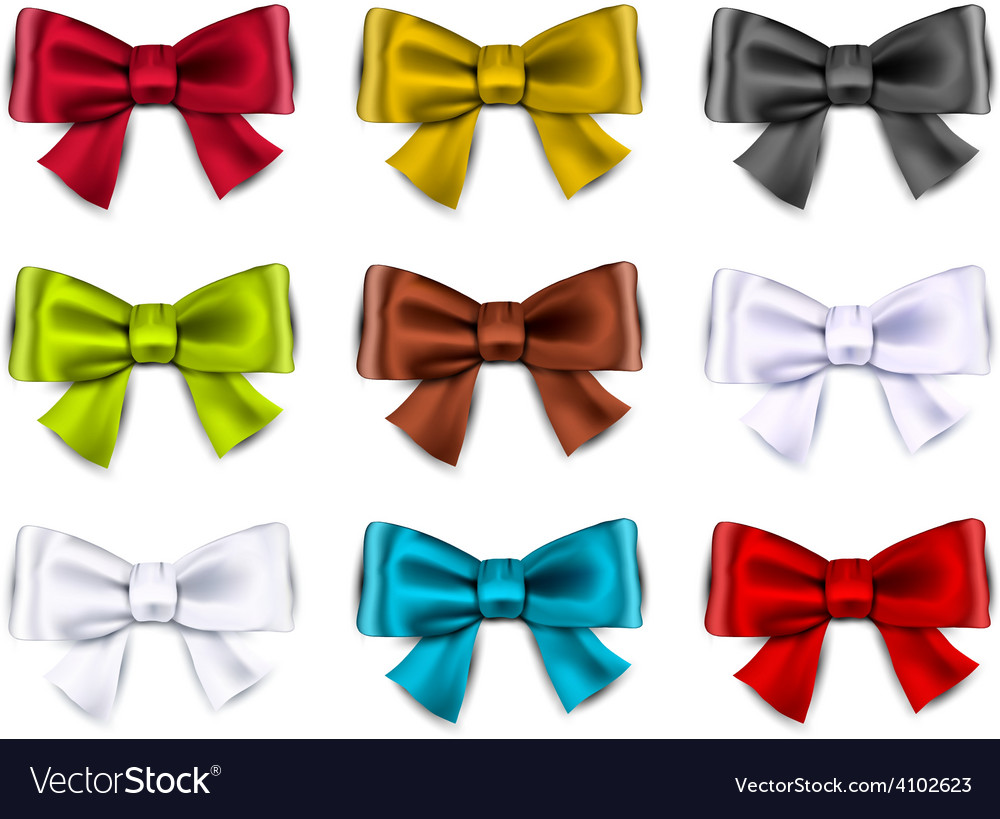 Satin color ribbons gift bows vector | Price: 1 Credit (USD $1)