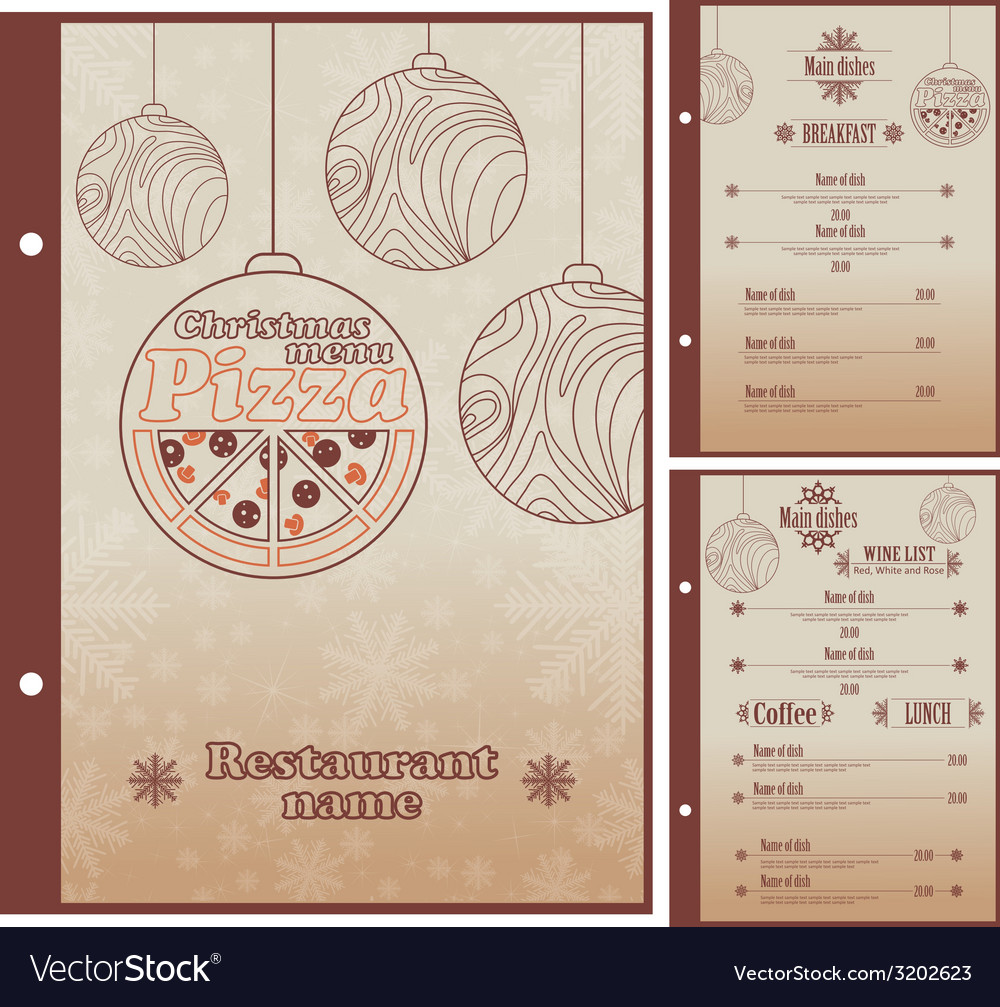 Special christmas restaurant menu for pizza vector | Price: 1 Credit (USD $1)
