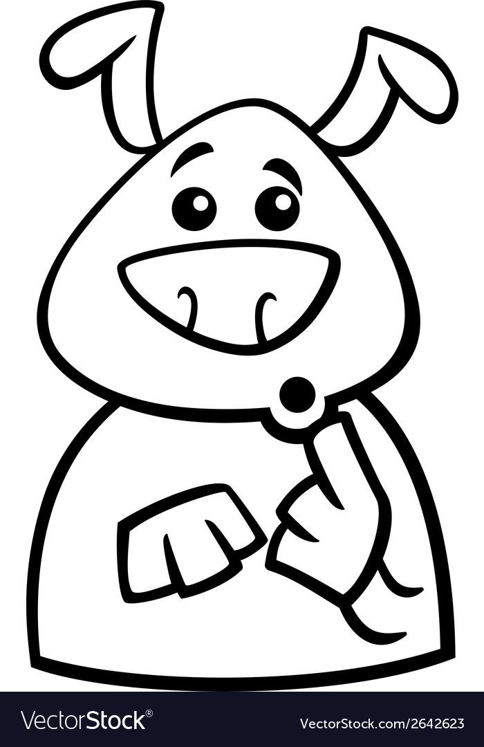 Surprised dog cartoon coloring page vector | Price: 1 Credit (USD $1)