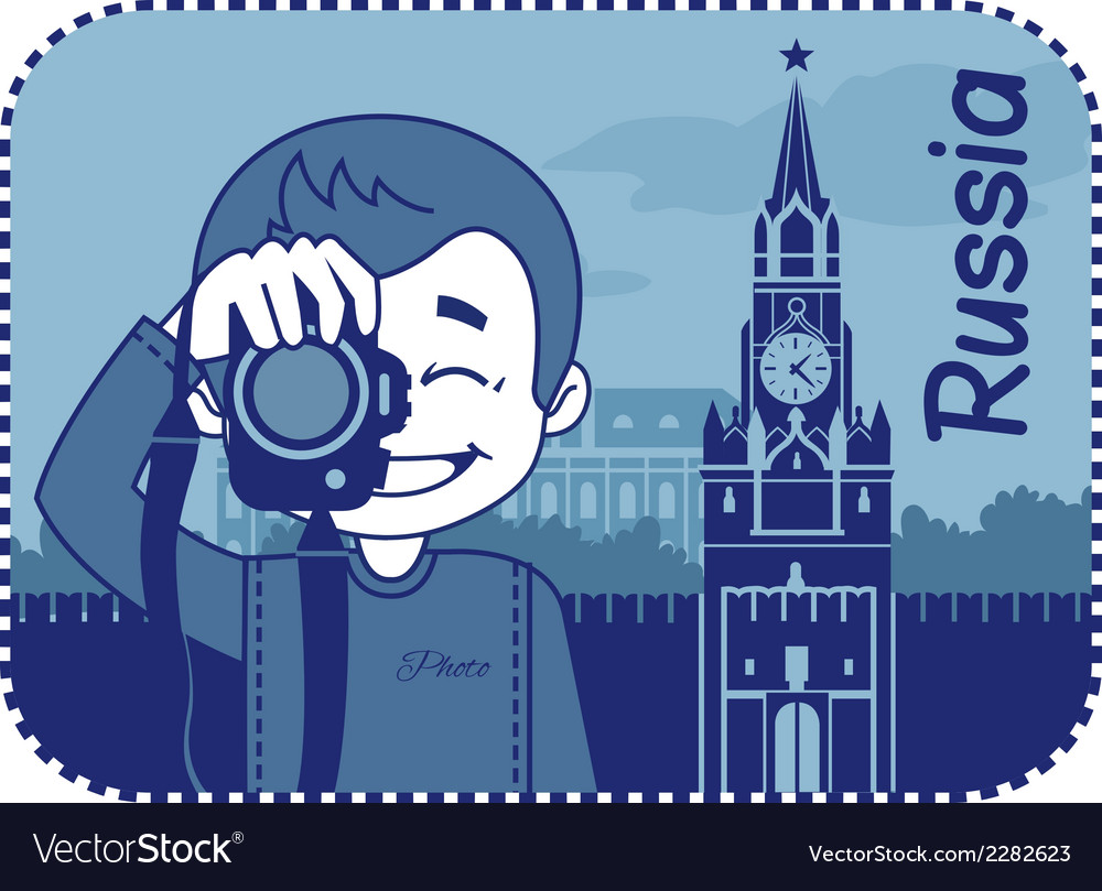Teaser with photographer travels through russia vector | Price: 1 Credit (USD $1)
