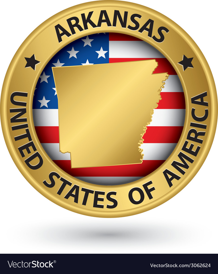 Arkansas state gold label with state map vector | Price: 1 Credit (USD $1)