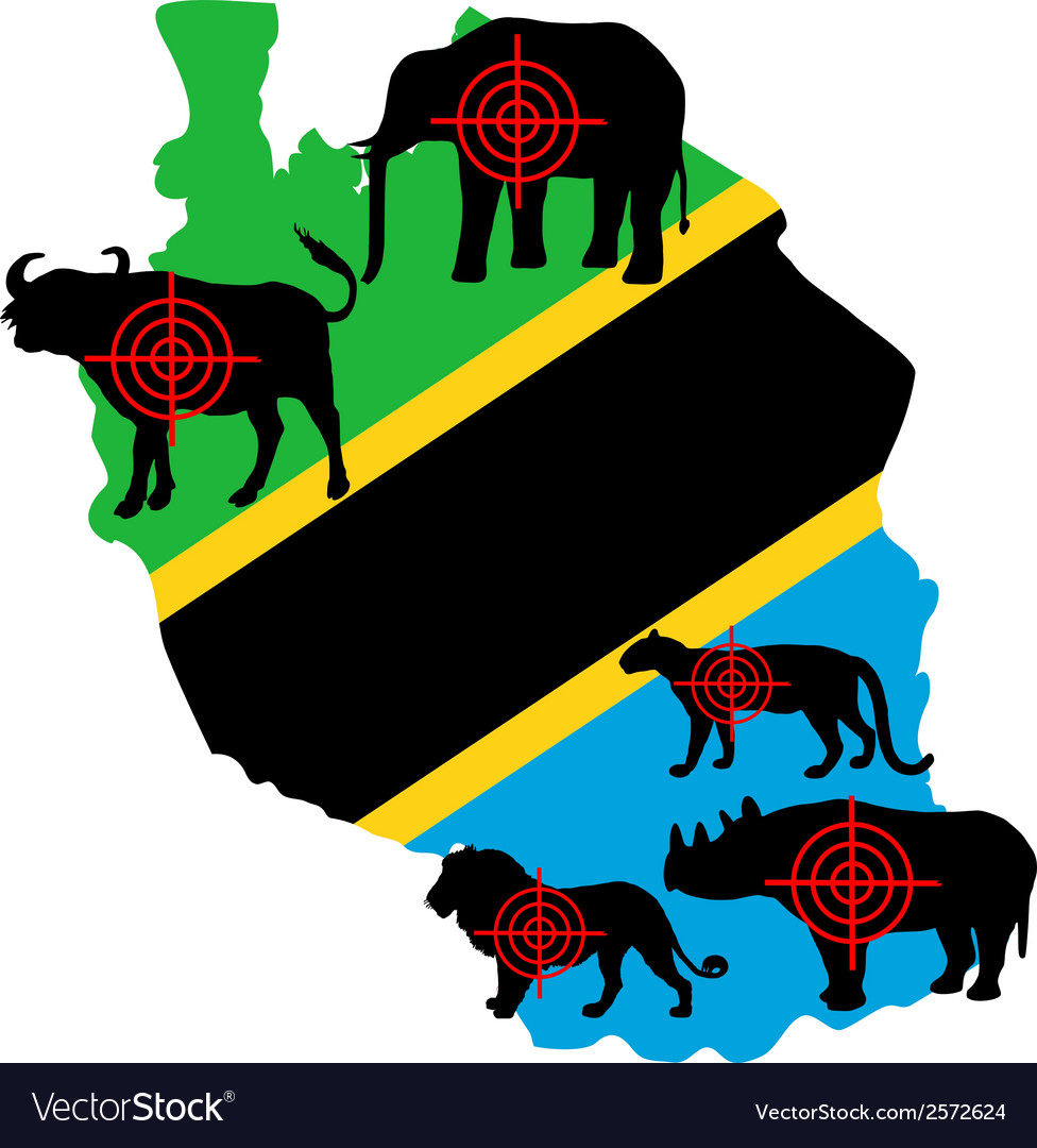 Big five tanzania cross lines vector | Price: 1 Credit (USD $1)