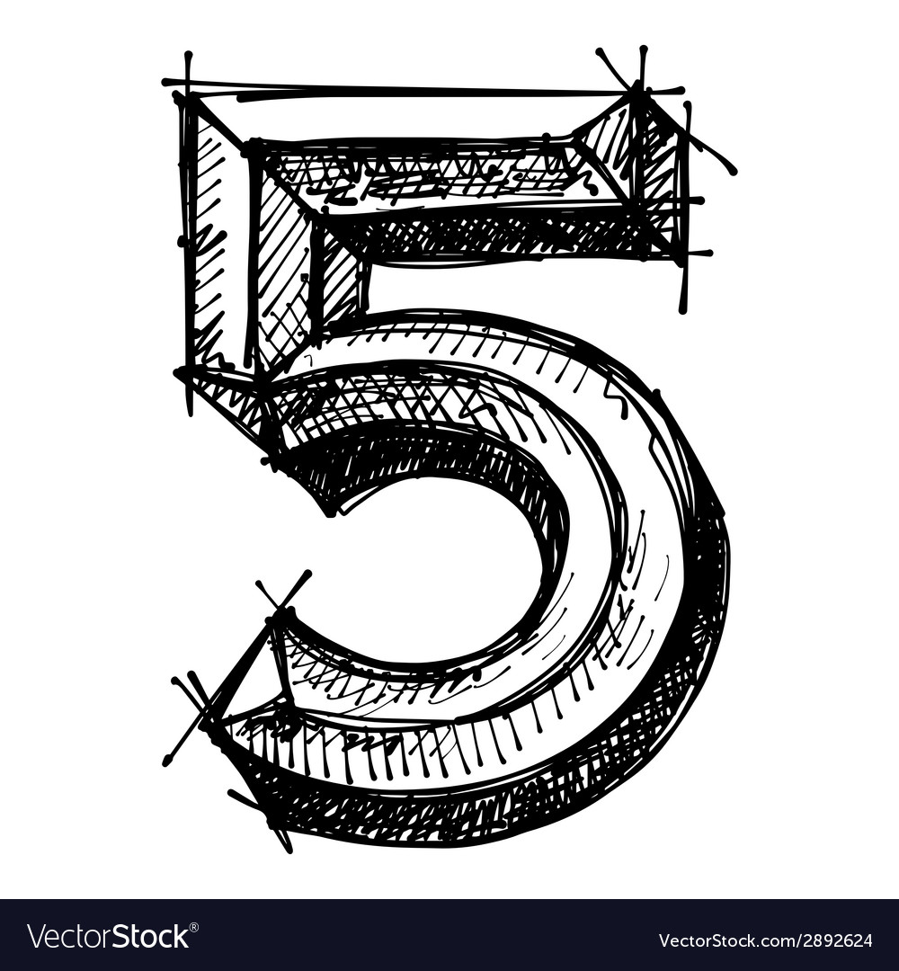 Black sketch drawing of numbers vector | Price: 1 Credit (USD $1)