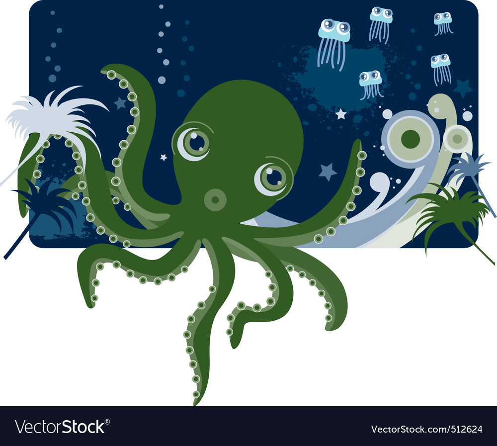 Cartoons octopus vector | Price: 3 Credit (USD $3)