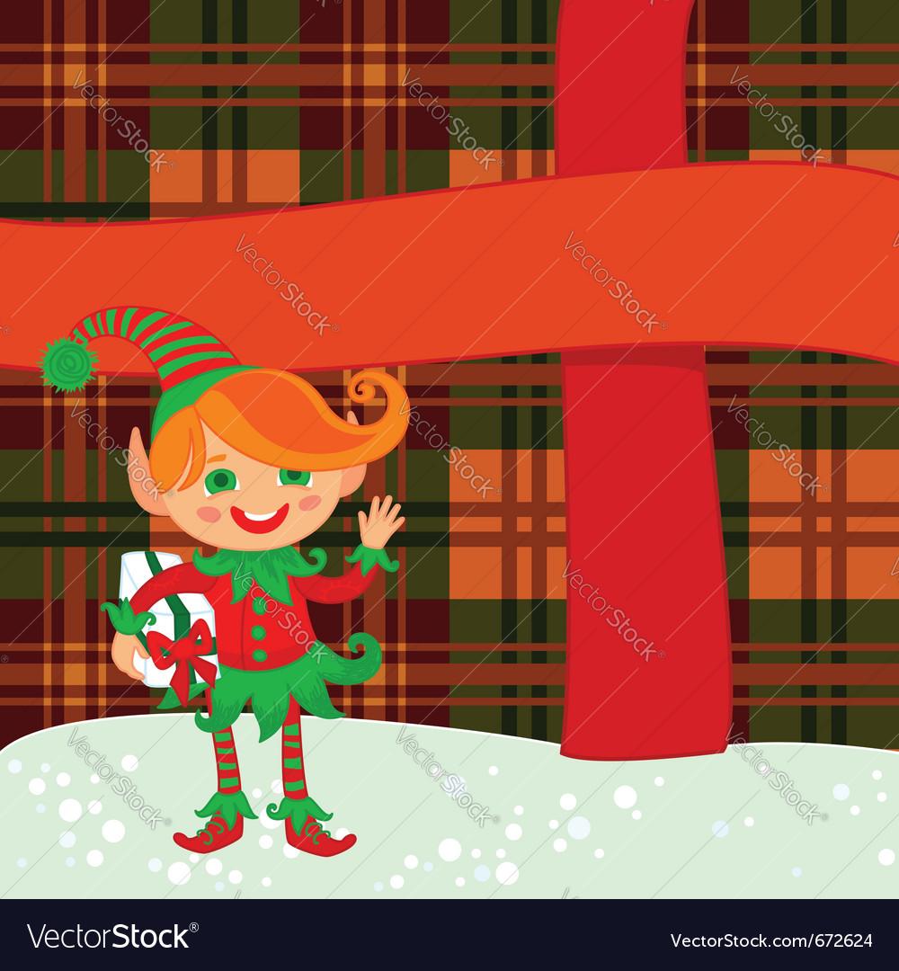 Elf and big present vector | Price: 3 Credit (USD $3)