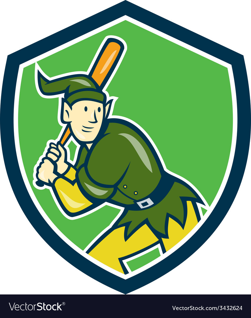 Elf baseball player batting shield cartoon vector | Price: 1 Credit (USD $1)
