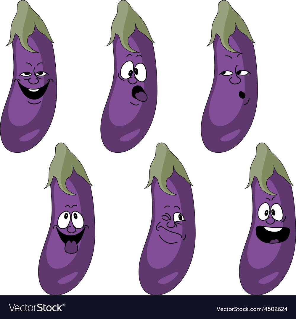 Emotion cartoon eggplant vegetables set 018 vector | Price: 1 Credit (USD $1)