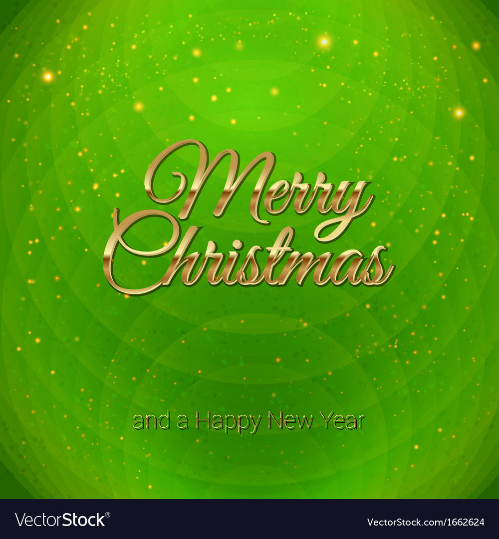 Golden merry christmas headline on green vector | Price: 1 Credit (USD $1)