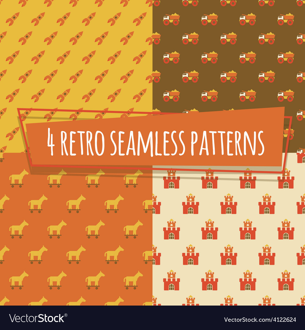 Kids retro seamless patterns with rockets and car vector | Price: 1 Credit (USD $1)