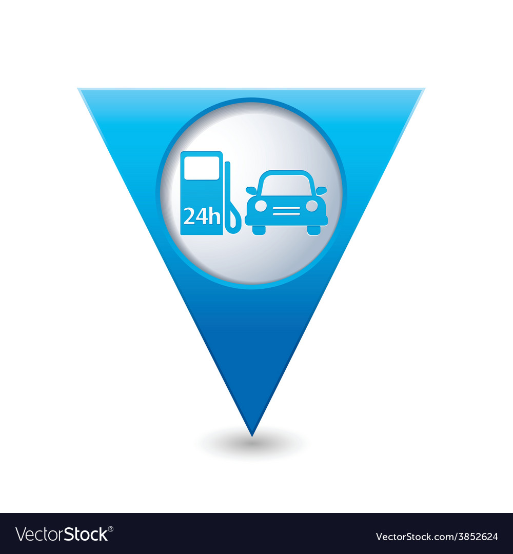Petrol station and car blue triangular map vector | Price: 1 Credit (USD $1)