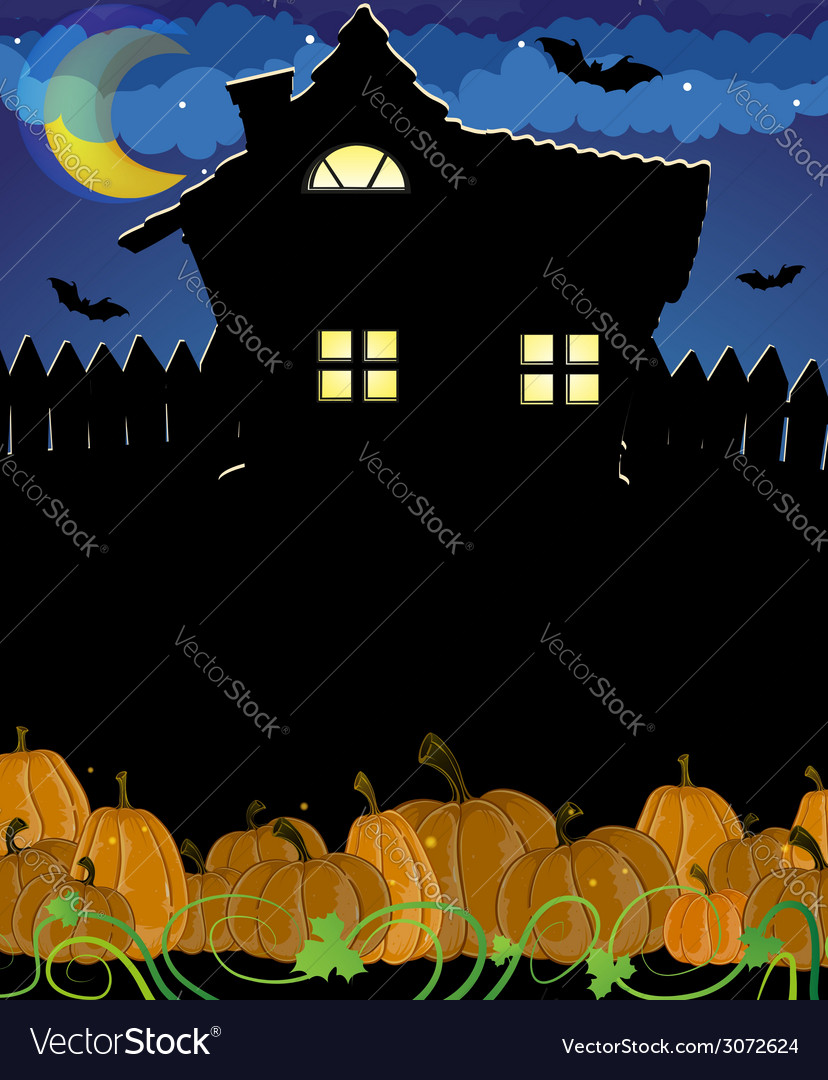 Pumpkins and haunted house vector | Price: 3 Credit (USD $3)