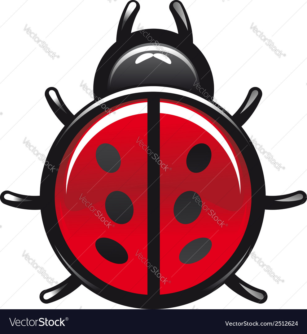 Red and black spotted cartoon ladybug vector   Price: 1 Credit (USD $1)