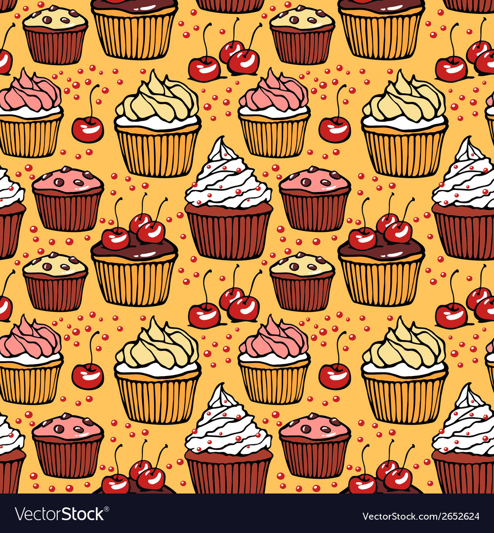 Seamless pattern with muffins and cherries vector | Price: 1 Credit (USD $1)