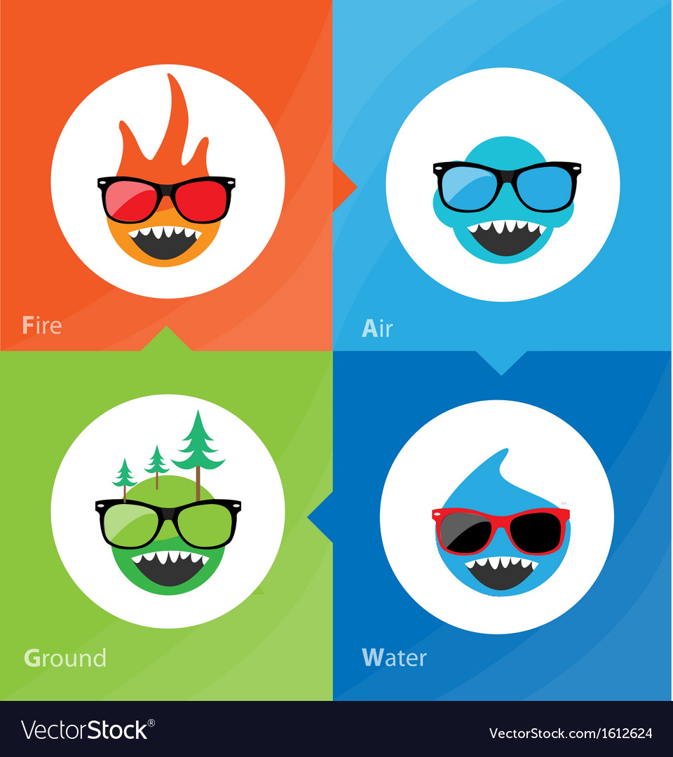 Set of 4 elements fire water air ground vector | Price: 1 Credit (USD $1)