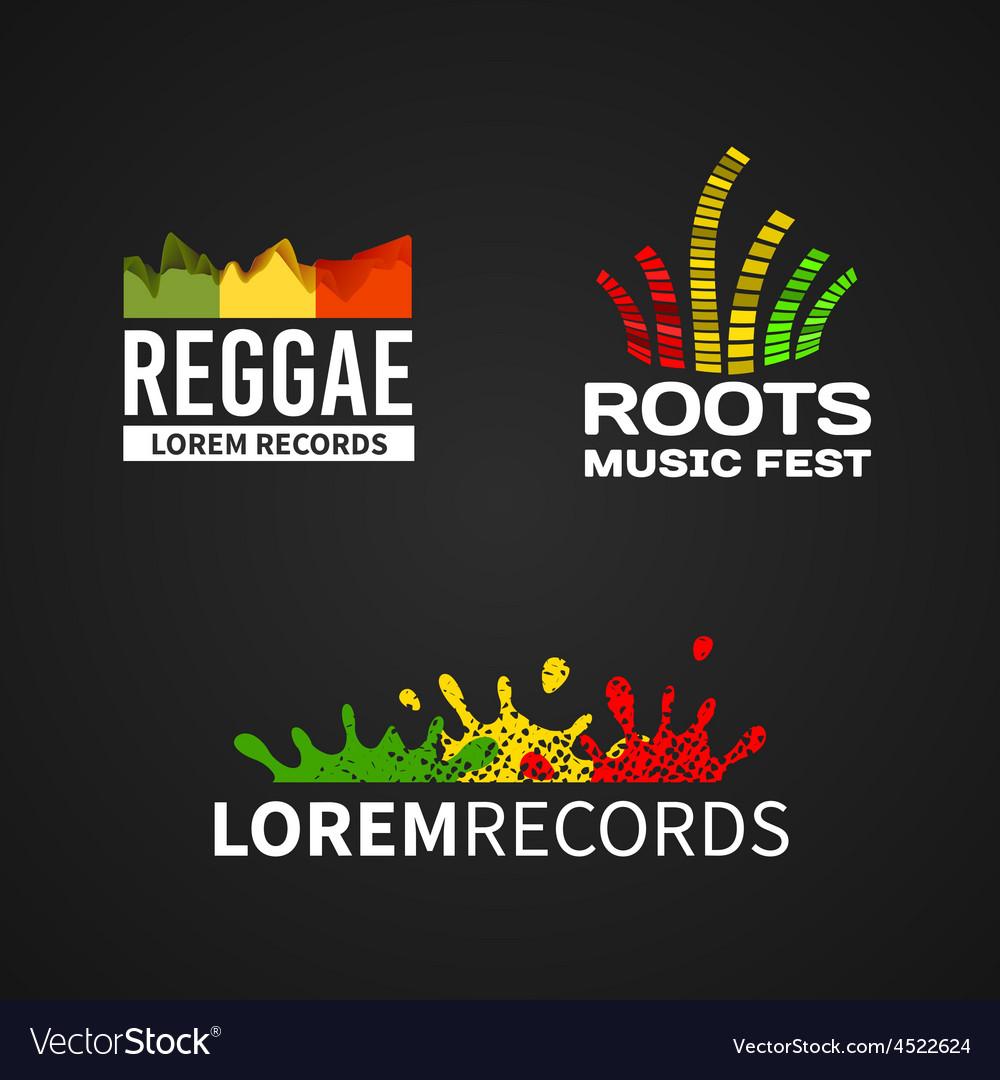 Set of reggae music equalizer logo emblem vector | Price: 1 Credit (USD $1)