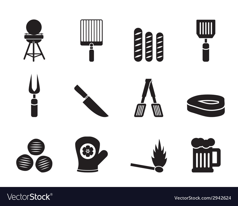 Silhouette picnic and grill icons vector | Price: 1 Credit (USD $1)