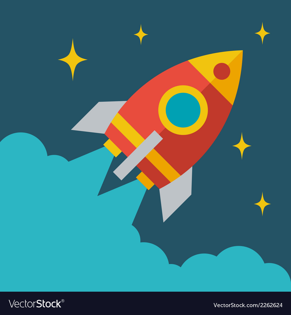 Start up business rocket concept in flat style vector | Price: 1 Credit (USD $1)