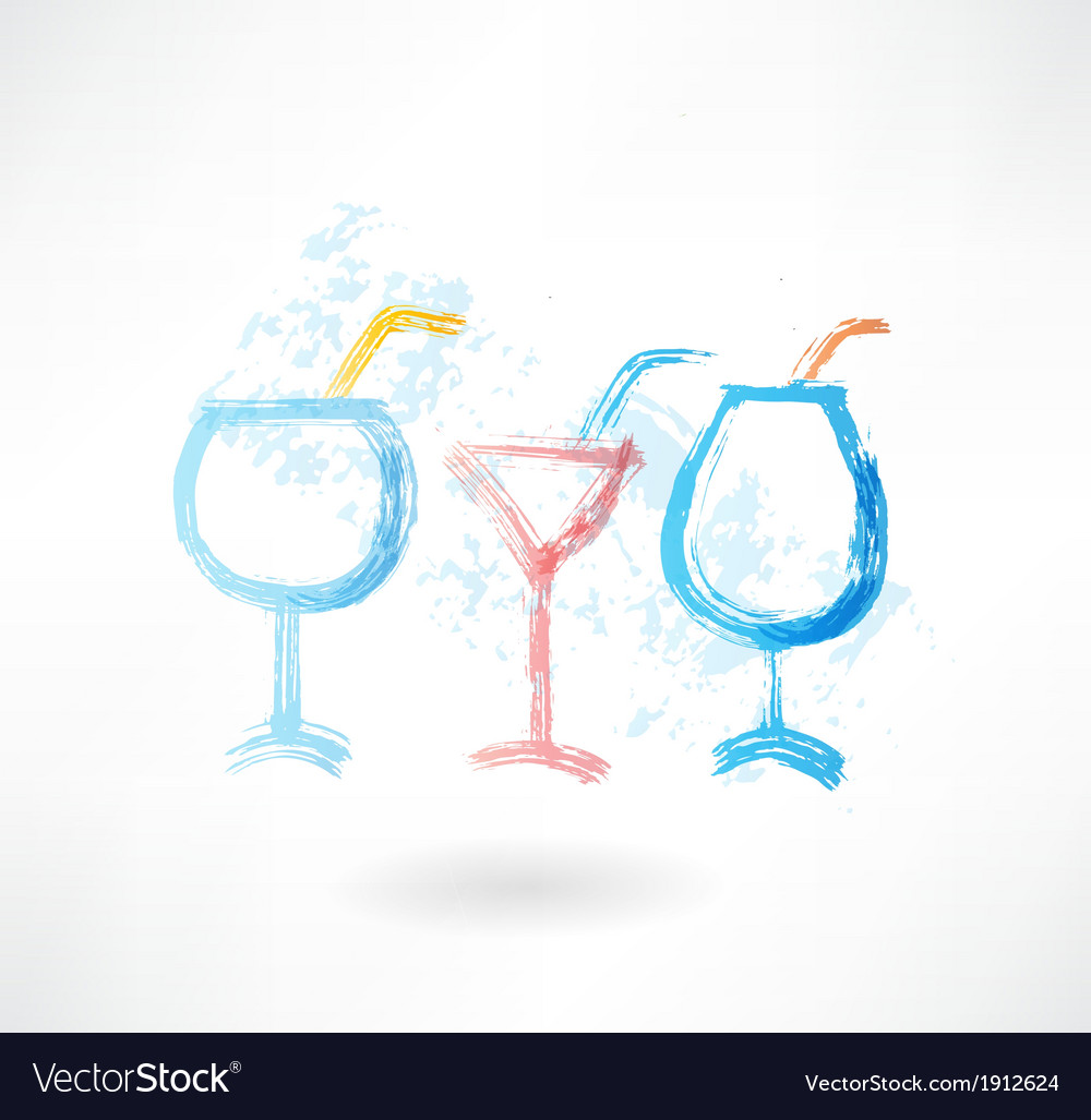 Three cocktails grune icon vector | Price: 1 Credit (USD $1)
