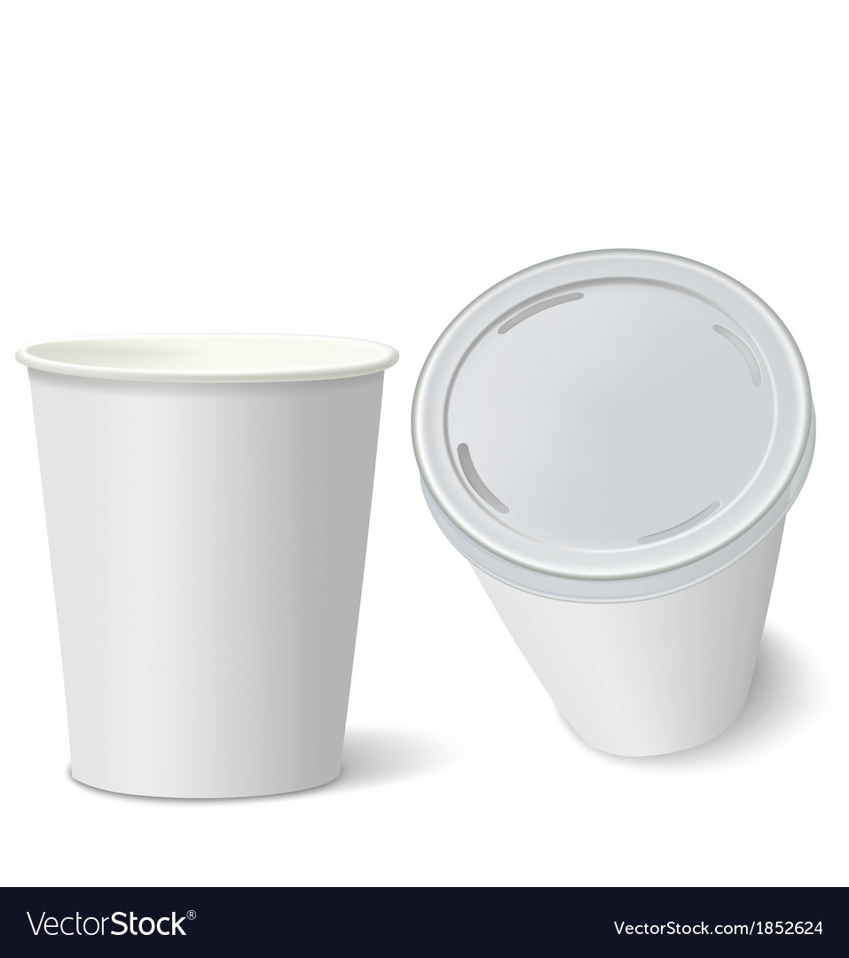 White paper cups isolated on white vector | Price: 1 Credit (USD $1)