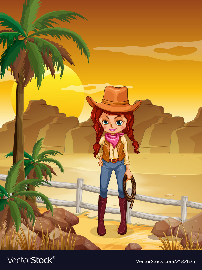 A cowgirl at the dessert vector | Price: 1 Credit (USD $1)