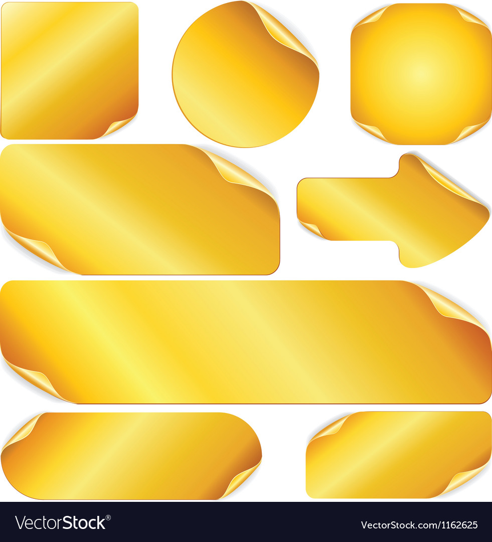 Blank golden stickers notes labels set of design vector   Price: 1 Credit (USD $1)