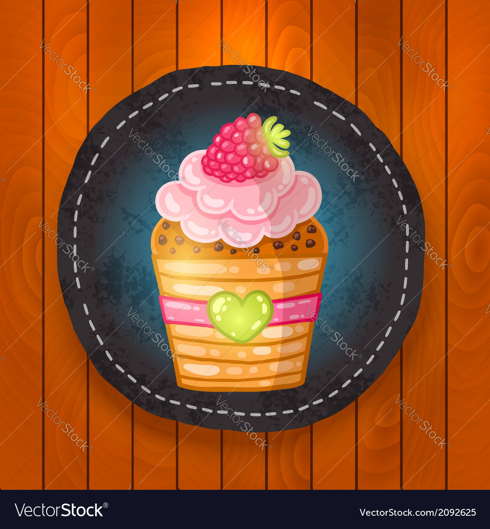 Cupcake with chocolate raspberry vector | Price: 1 Credit (USD $1)
