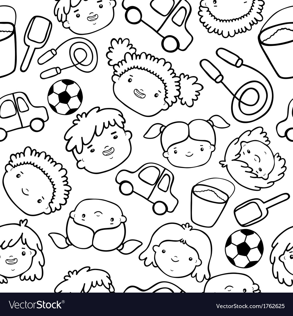 Doodle kids faces pattern vector   Price: 1 Credit (USD $1)