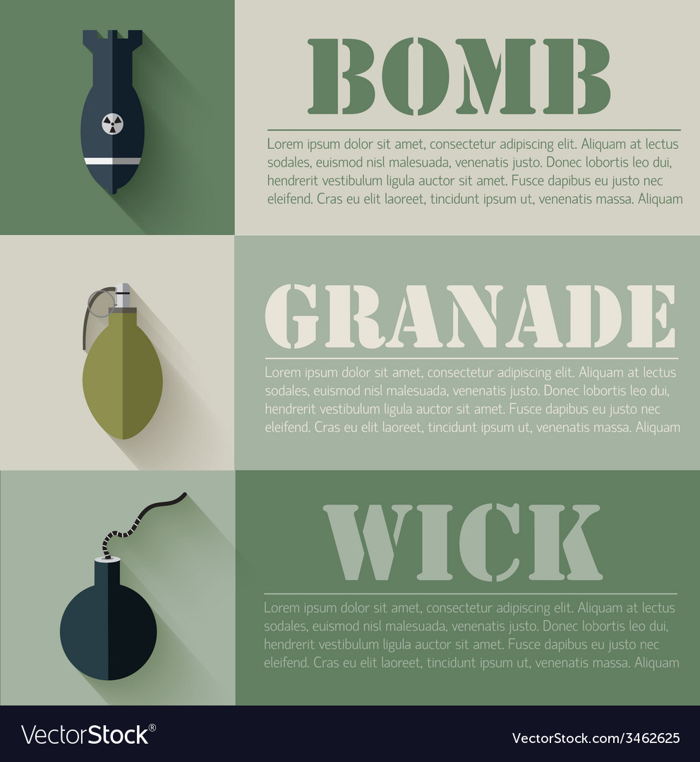 Flat military explosive weapons set design concept vector | Price: 1 Credit (USD $1)