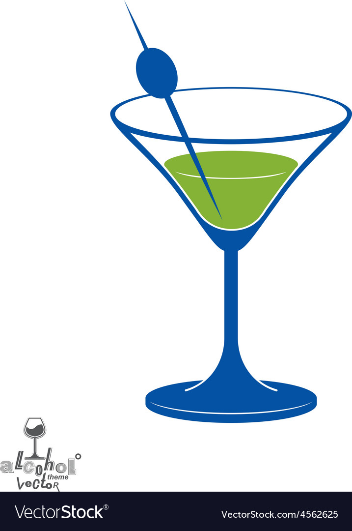 Martini glass with olive berry alcohol and vector | Price: 1 Credit (USD $1)