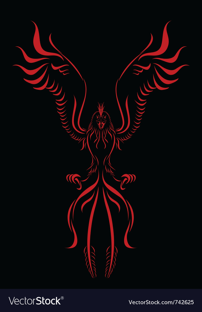 Phoenix flame bird silhouette vector | Price: 1 Credit (USD $1)