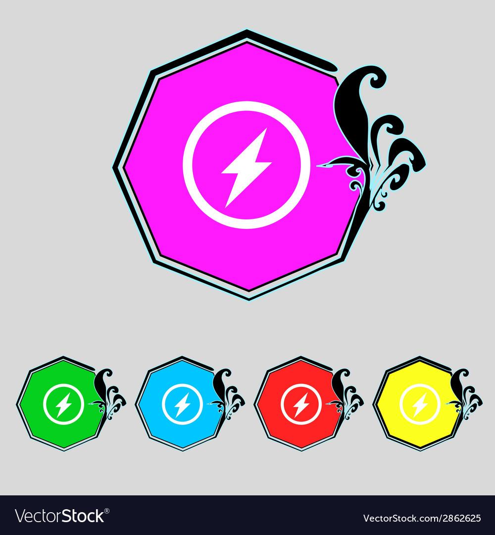 Photo flash sign icon lightning symbol set vector | Price: 1 Credit (USD $1)