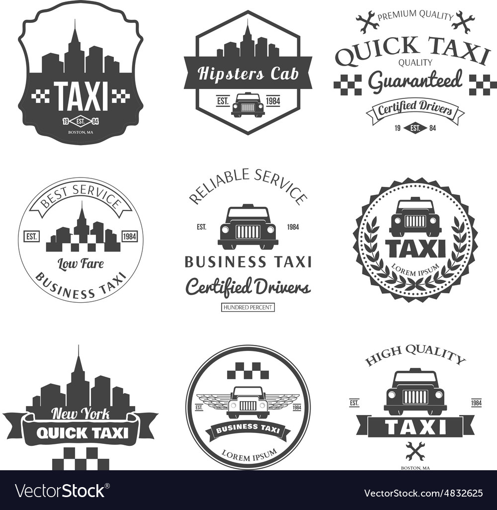 Set of taxi badges logos and labels vector